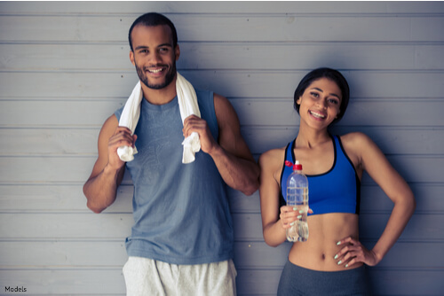 Couple that just finished a workout