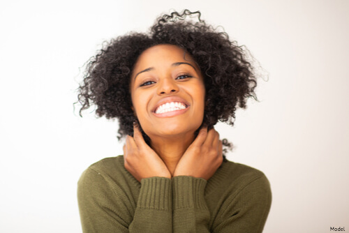 Woman very happy about her facial and chemical peel